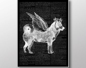 Husky Print, Dog Decor, Dictionary Book, Wings Poster ZA111