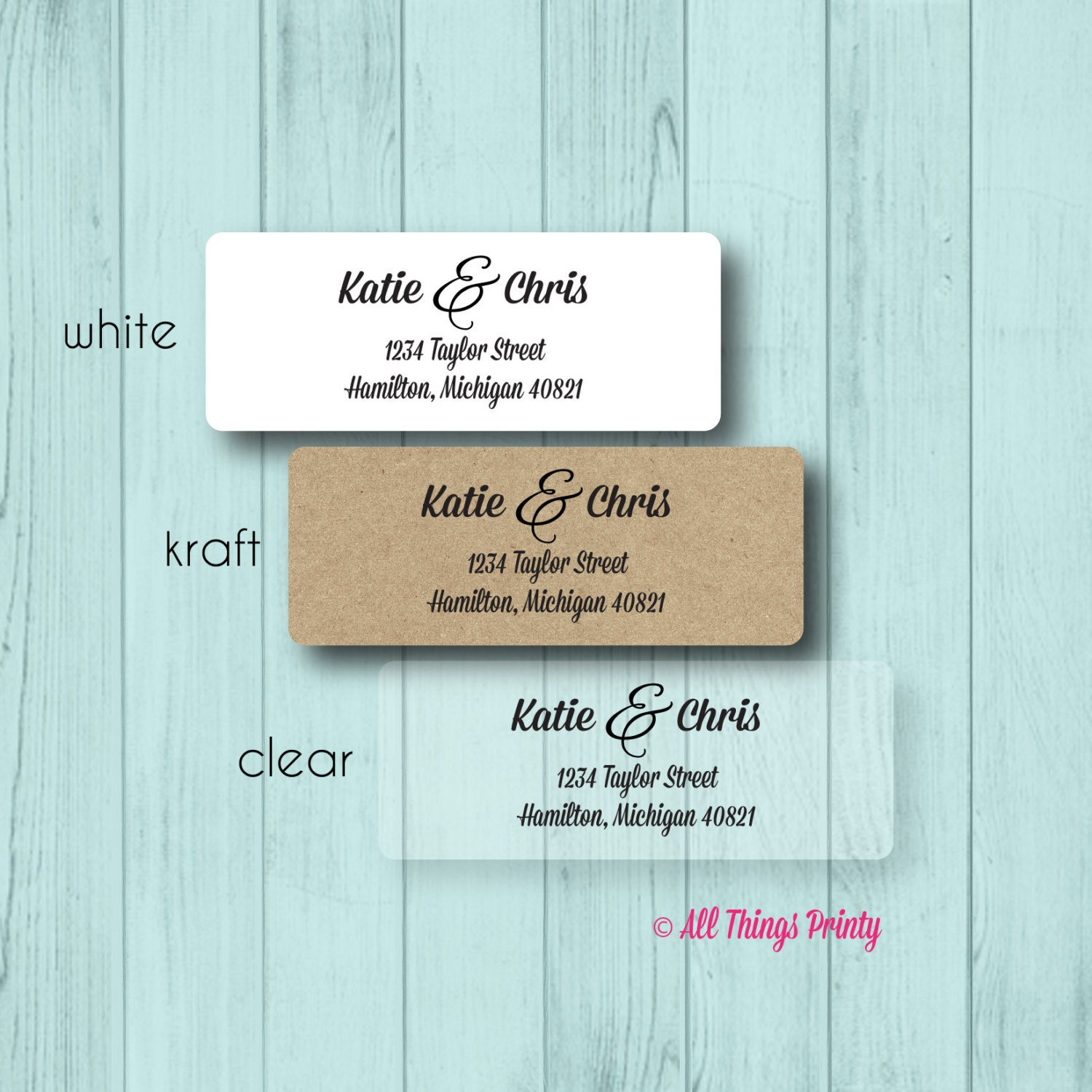 Couple custom return address labels personalized ampersand for Custom mailing stickers