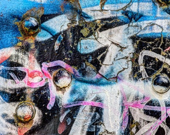Graffitied Ironworks: Abstract art photography prints for home or office wall decor.