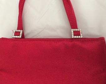 Liz Claiborne red purse/evening bag w/diamond accents