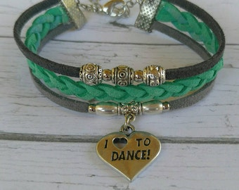 Custom Girl's Sports Bracelet// Dance Bracelet// Teal and Gray// Dance Mom// Choose Sports Team or Favorite Color Cords & Sports Charm
