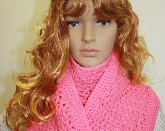Infinity Scarf, Infinity Hooded Scarf, Crochet Scarf Cowl, Hood Scarf, Crochet Hood Scarf, Knit Cowl Color : Perfect Rose