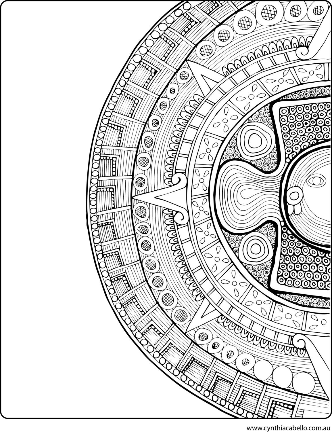 Aztec Coloring Pages Pdf : Coloring pages for adults aztec design by kalakita on etsy