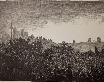 Rainy Toronto skyline lithograph print