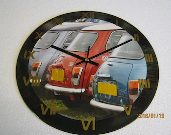 Vintage British Leyland Silver, Red and Blue Mini Wall Clock