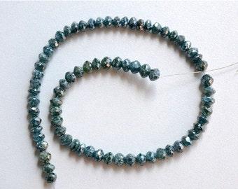 ON SALE 40% 10 Pieces Rare Blue Diamond Faceted Rondelles, Diamond Neckles, 3mm Approx.