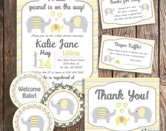 Baby Shower Package - Yellow Elephant Invitations - Elephant Baby Shower - Elephant Theme Baby - Baby Shower Banner - Custom Baby Shower Set