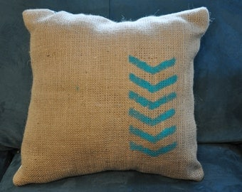 Burlap Teal Arrow & Ikat 2-sided Pillow