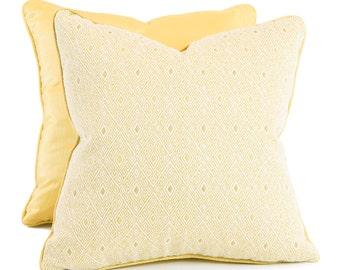 Diamond And Yellow Ribbed Silk Pillows Set