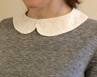 Floral Cream Detachable Peter Pan  Collar