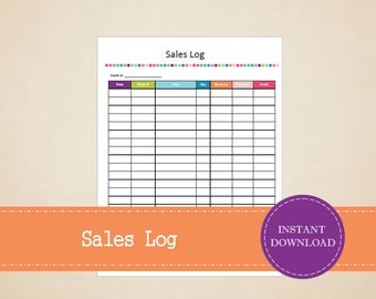 Sales Log - Business Sales Tracker - Printable and Editable - INSTANT PDF DOWNLOAD