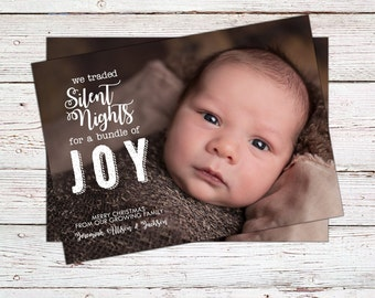 Christmas Card Baby Announcement - Photo Christmas Cards - Bundle of Joy - Printable Christmas Card - Baby Announcement Christmas Cards