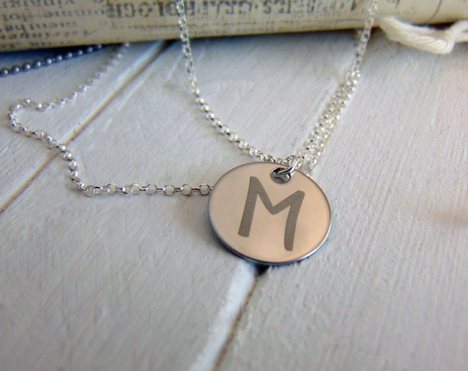 "Initial Necklace- Personalized Charm Pendant, Add On Option- Engraved - 5/8"" Cirlce Pendant - Stainless Steel, No Tarnish, Child's Initials"
