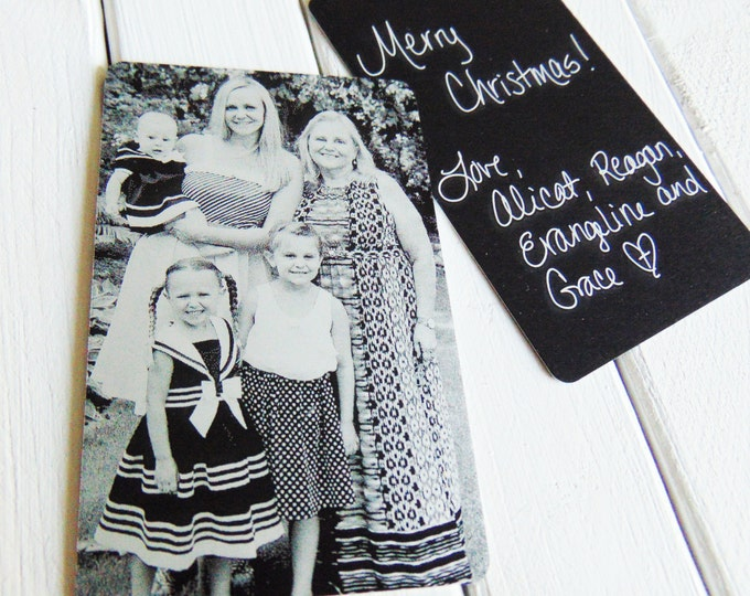 Metal Wallet Insert - Engraved Photo, Handwritten Note, Wallet Card -Back Engraving Too -Christmas Gifts for Mom & Dad, Your Handwriting