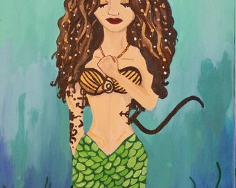 Tattooed Mermaid with Trident Painting