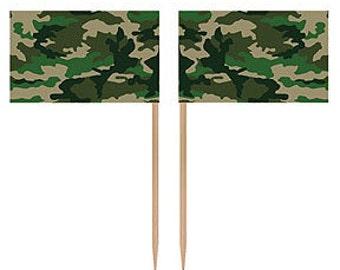 50 Ct. Camo Cupcake Picks Hunting Party Picks Military Party Cupcake Picks Hunting Party Decorations Military Party Decorations