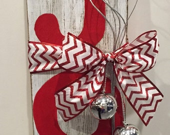 Wooden JOY Red Holiday Sign
