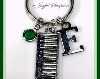 Keyboard Keychain, Band Instrument, Gifts for Player Pianist Present Charm Keyring, Silver Key Chain, Piano Keys, Organ Personalized planner