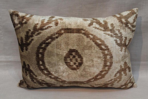 Handmade Ikat Throw Pillows : Velvet ikat Pillow 15.5 x 22 Handmade