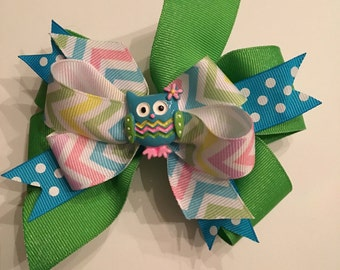 Whimsical Owl Hair Bow Chevron Turquoise Pink Green White with Turquoise Polka Dots Kelly Green Grosgrain Cute Owl in Center Girls Hair Bow