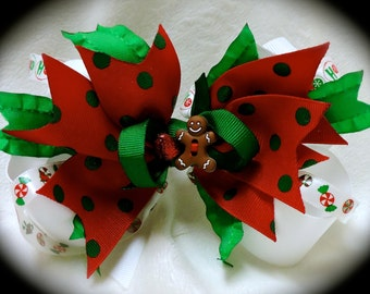 Christmas Hair Bow~Gingerbread Stacked Boutique Bow