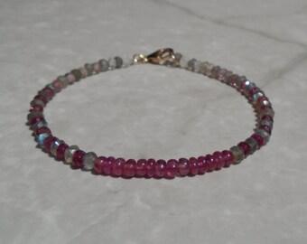 Ruby Bracelet, Tourmaline Bracelet, Pink Tourmaline Bracelet, Labradorite Bracelet, Dainty beaded Bracelet