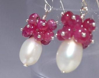 Holiday Earrings, Ruby and Pearl Earrings, Pearl and Ruby Earrings, Ruby Cluster Earrings, Ruby Pearl Cluster,1010