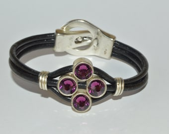 Chunky leather bracelet with 4 purple beads