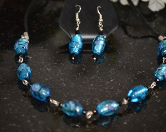 Dark blue glass bead necklace and earring set