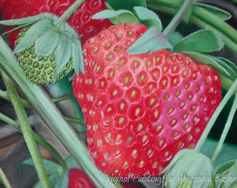 "ORIGINAL Oil Painting, ""Strawberry"", Hand Painted, Art on Canvas - Signed by Artist"