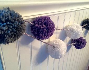 Pom pom garland, yarn garland, purple and gray decor, nursery decor, baby girl decor, nursery garland, pom pom decor, pom pom accesory