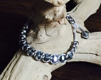 Silver macrame bracelet with hex nuts