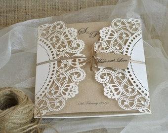 Laser Cut Wedding Invitation, Doily Laser Cut Wedding Invite, Rustic Wedding Invite, Doily Wedding Invitation,