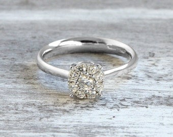 Promise Ring for Her, Diamond Eternity Band, Diamond Engagement Ring, White Gold Diamond Ring, Classic Halo Ring for Woman, Gift For Her