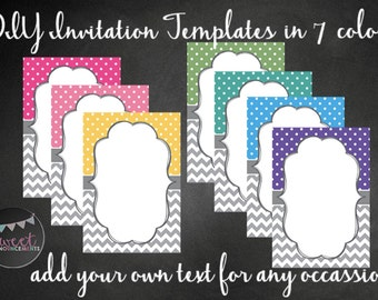 7 DIY blank card templates - personal and commercial use - no license required! (chevrons, dots) - T004
