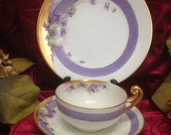 T & V Limoges 3 Piece Luncheon Set, Signed Limoges Luncheon Set 1931