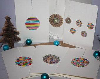 Baubles All Over the Shop! Set of 6 Hand-Finished Christmas Cards