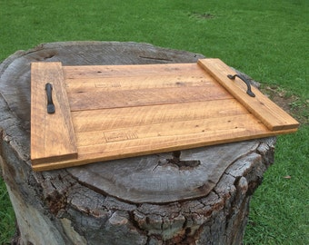 Reclaimed Wood Serving Tray, Breakfast Tray with Metal Handles - Teak Stain