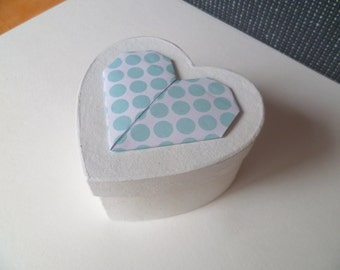Heart box of paper mache , paper heart in light blue and white origami