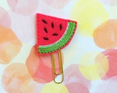 SALE CLEARANCE DESTASH, Planner Clip, Watermelon Planner Clip, Felties, Stocking Stuffer