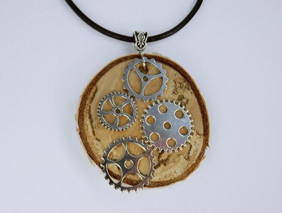 Necklace Gears Steampunk necklace made of wood birch with silver-colored gears on black leather strap gear birch wood Jewelry