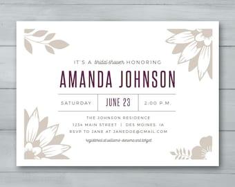 Bridal Shower Invitation  |  Floral Bridal Shower Invitation | Bridal Shower Invite