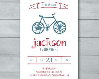 Bicycle Birthday Party Invitation  |  Bike Birthday Invite