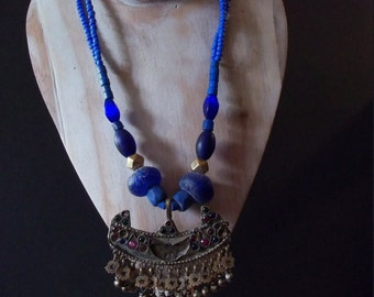 Handmade ethnic necklace.  Old Turkoman, Kuchi hang.   Unique beads, tribal necklace.  Turkomans. Afghan. OOAK, blue.