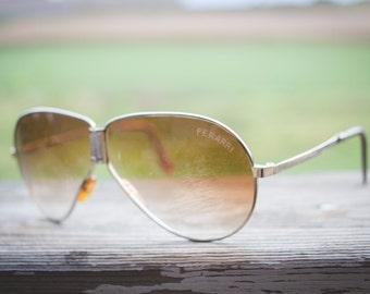 Vintage Ferrari Collapsible Sunglasses with original leather case