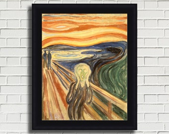 "Edvard Munch ""The Scream"" Framed Canvas Giclee Print (MD370-70 Black Finish) - Free Shipping"