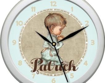 "Personalized Praying Boy 10"" Wall Clock Boy Nursery Decor Gift Shower Gift"