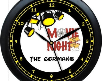 """Movie Nite Home Entertainment 10"""" Personalized Wall Clock Gift"""