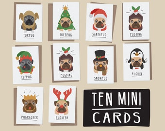 Pug christmas cards,Pack of ten mini cards.Christmas Card Set, Christmas Card Pack, Christmas Cards, Xmas Card Set, Christmas Card Multipack