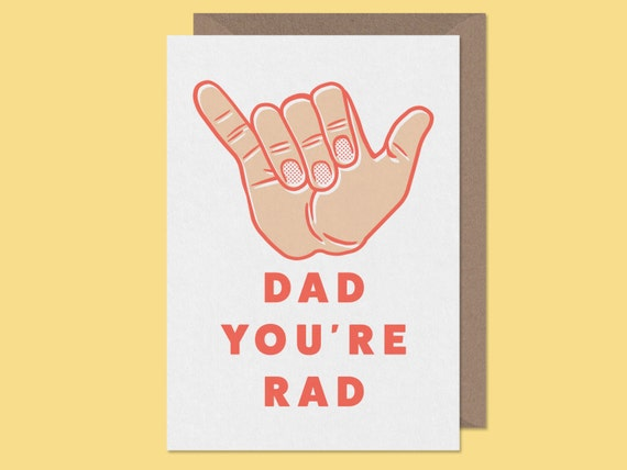 hipster father's day card.Dad You're Rad.Hand drawn fathers day card.alternative fathers day card.dad birthday card.rad card